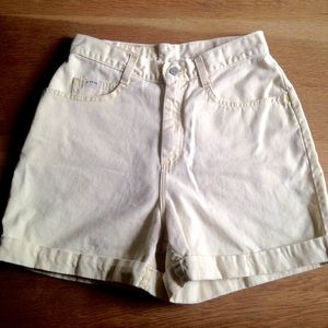 Vintage Riders Pale Yellow Cuff High Waist Shorts